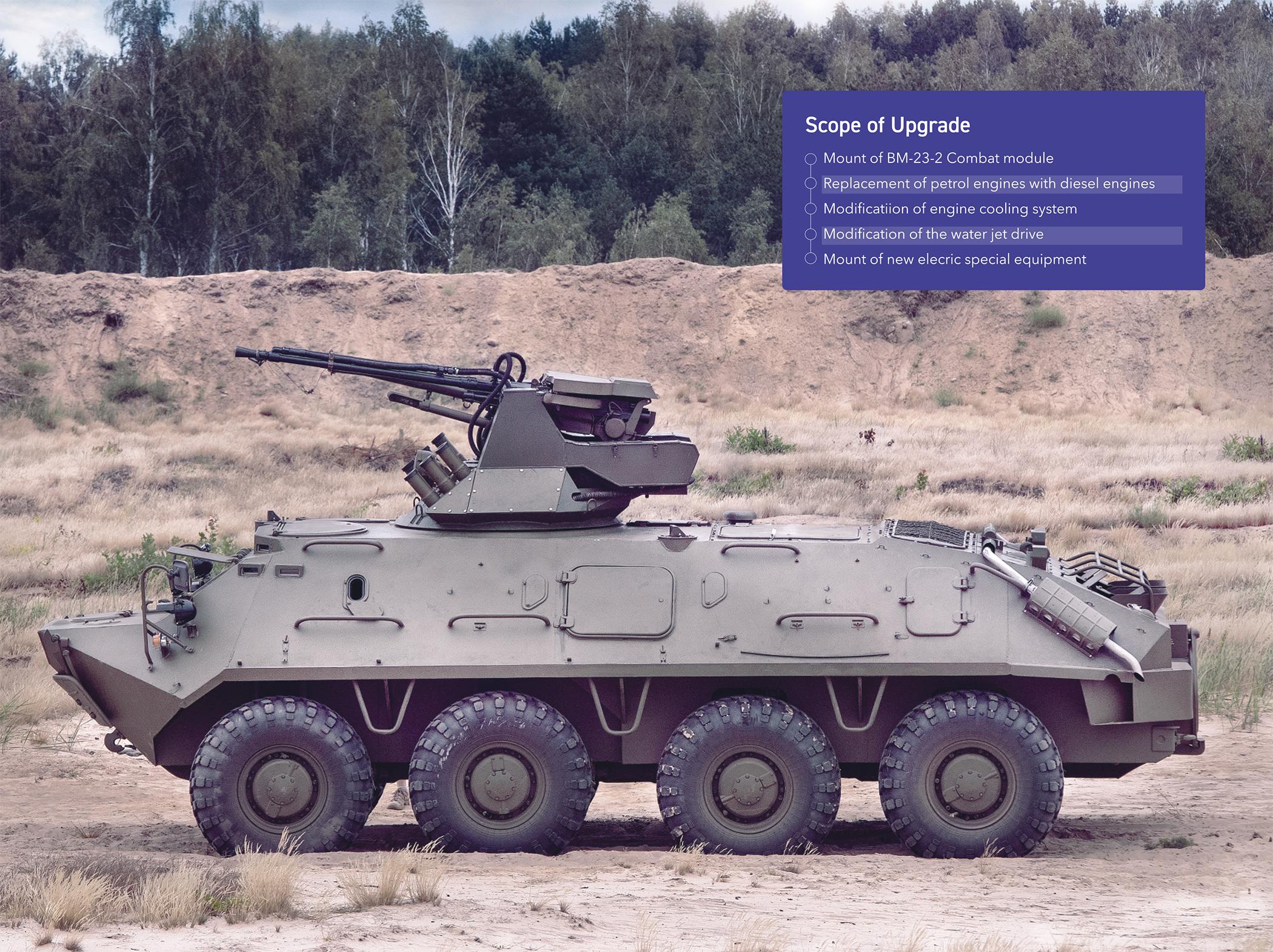 BTR-60PB-T with the combat module BM-23-2